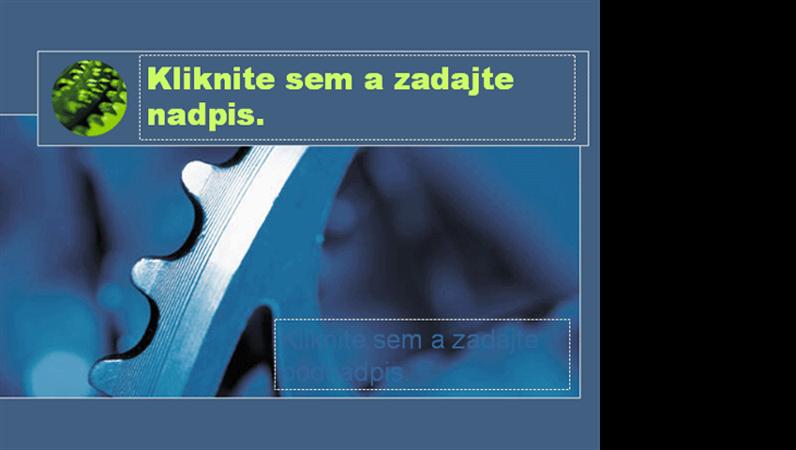 Šablóna návrhu s motívom modrého ozubeného kolesa