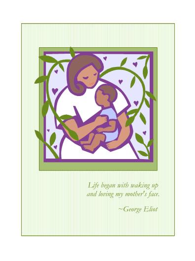 Pohľadnica pri príležitosti Dňa matiek (s matkou a dieťaťom)
