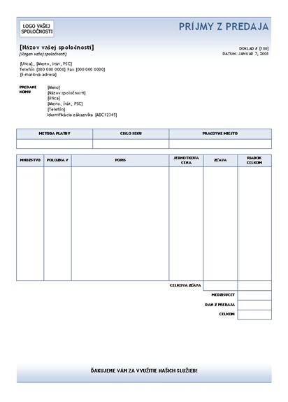 Príjmy z predaja (motív s modrým prechodom)