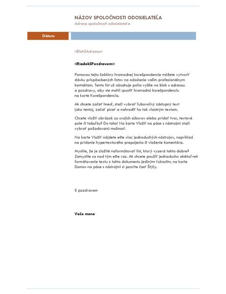 List hromadnej korešpondencie (motív mediánu)