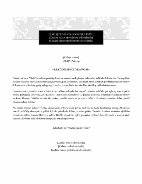 List hromadnej korešpondencie (štýl čiernej kravaty)