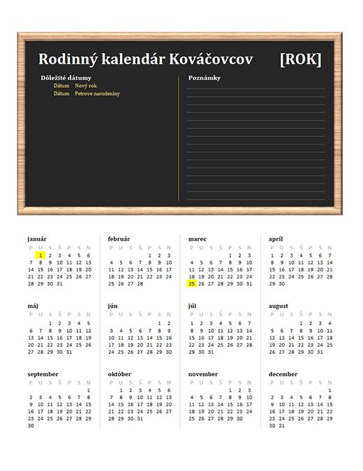 Rodinný kalendár Kováčovcov (ľubovoľný rok, pondelok až nedeľa)