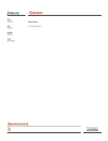Podnikový oznam (červený)