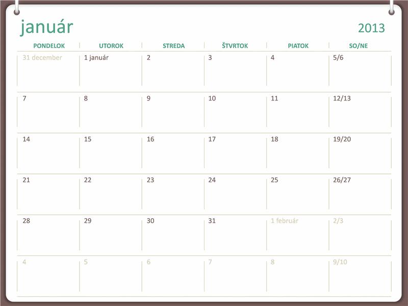 Kalendár na rok 2013 s dizajnom s dvoma kruhmi (pondelok až nedeľa)