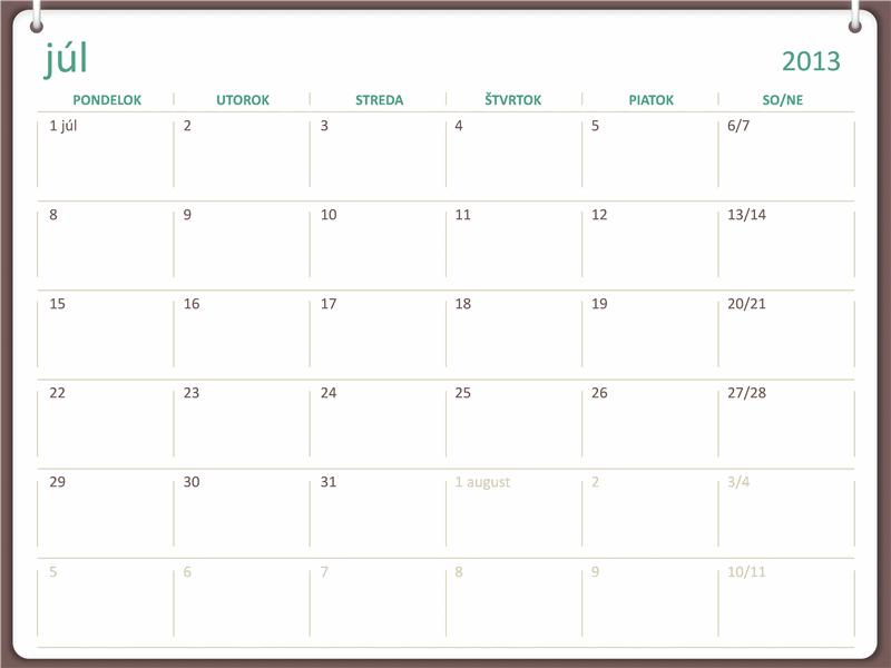 Kalendár na školský rok 2013/2014 (začína od júla)