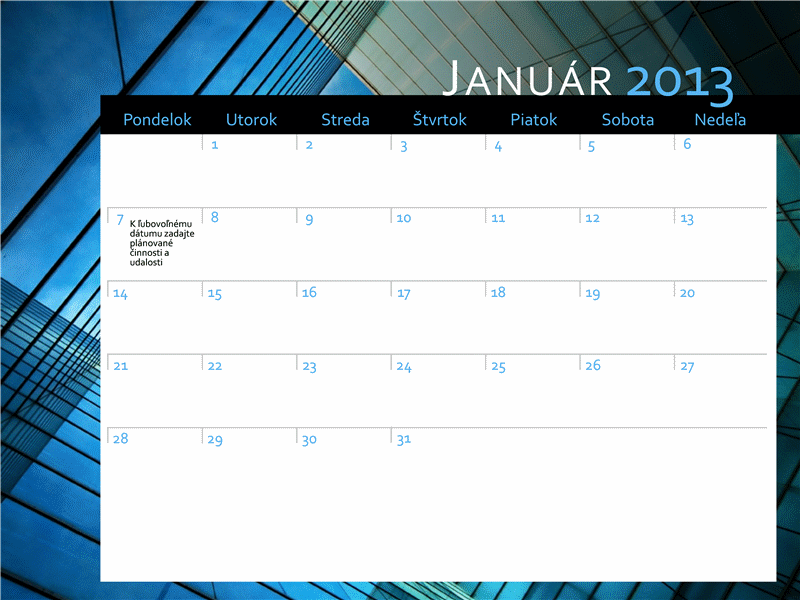 Kalendár na rok 2013 (pondelok až nedeľa)