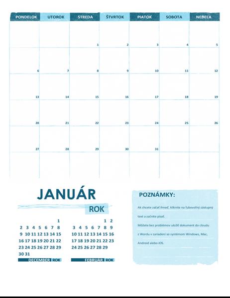 Akademický kalendár (jeden mesiac, ktorýkoľvek rok, začiatok v pondelok)
