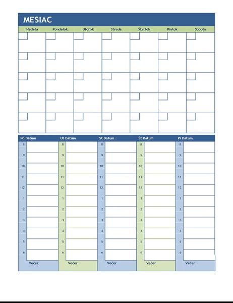 Mesačný atýždenný plánovací kalendár