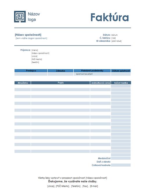 Faktúra za služby (jednoduchý modrý motív)