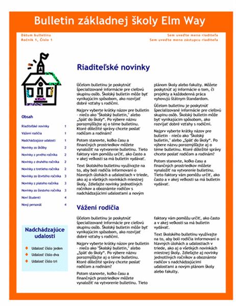 Školský bulletin (3 stĺpce, 4 strany)