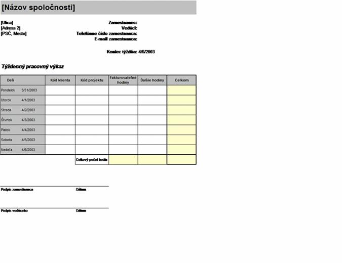 Týždenný pracovný výkaz podľa klienta a projektu
