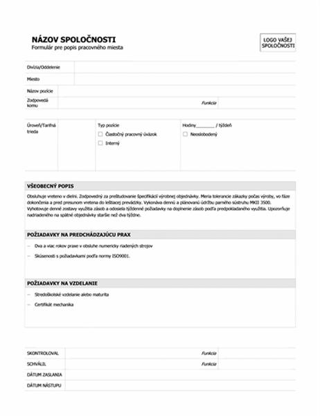 Formulár pre popis pracovného miesta