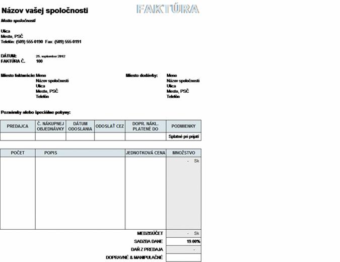 Predajná faktúra s výpočtom dane, dopravného a manipulačného