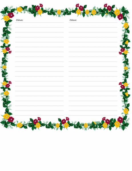 Stránky denníka (s kvetmi)