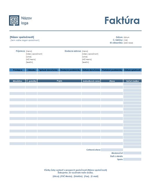 Faktúra za predaj (jednoduchý modrý motív)
