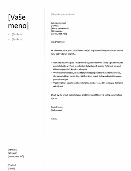 Sprievodný list pre chronologický životopis (jednoduchý návrh)