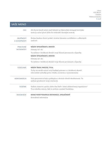 Životopis (nadčasový návrh)
