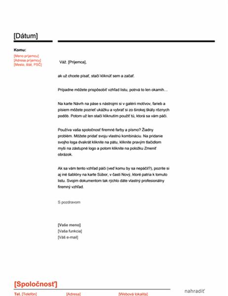 Hlavičkový papier (červeno-čierny návrh)