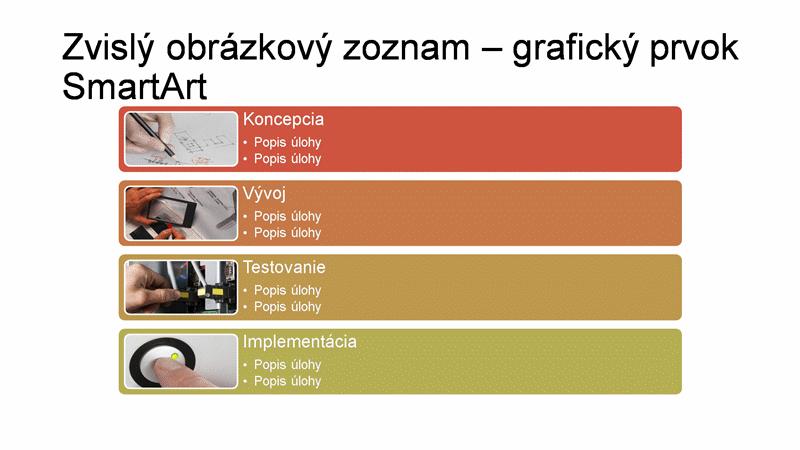 Snímka s grafickým prvkom SmartArt – zvislý obrázkový zoznam (viacfarebný na bielom podklade), širokouhlý formát