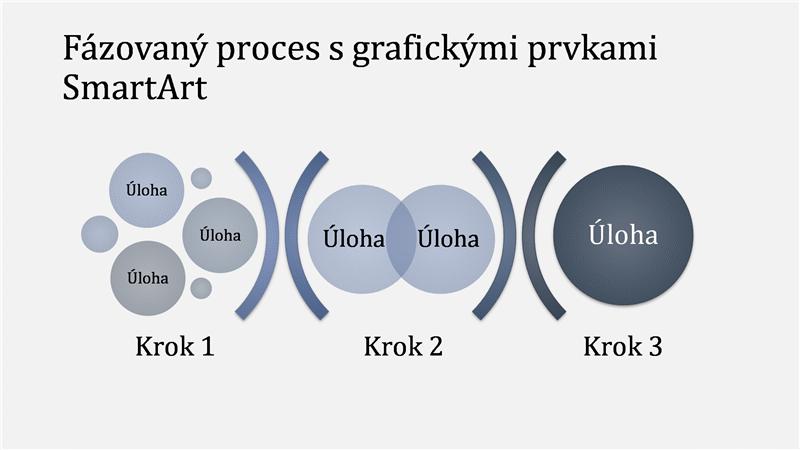 Fázovaný proces s grafickými prvkami SmartArt (vo svetlomodrej a tmavomodrej farbe), širokouhlý formát