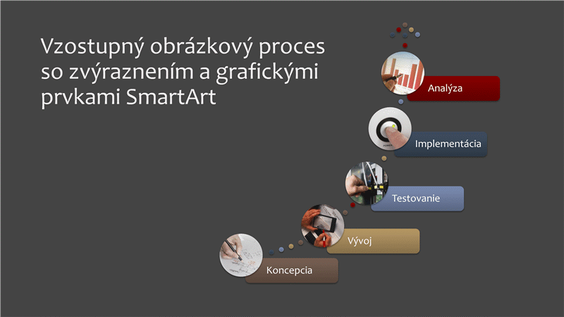 Vzostupný obrázkový proces so zvýraznením a grafickými prvkami SmartArt (viacfarebný na sivom podklade), širokouhlý formát