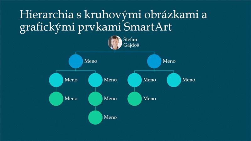 Snímka kruhovej obrázkovej hierarchicky usporiadanej organizačnej schémy (biela na modrom podklade), širokouhlá