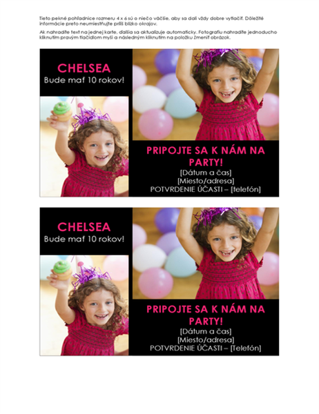Pohľadnice s pozvánkou na narodeninovú oslavu sfotografiami (2 na stranu)