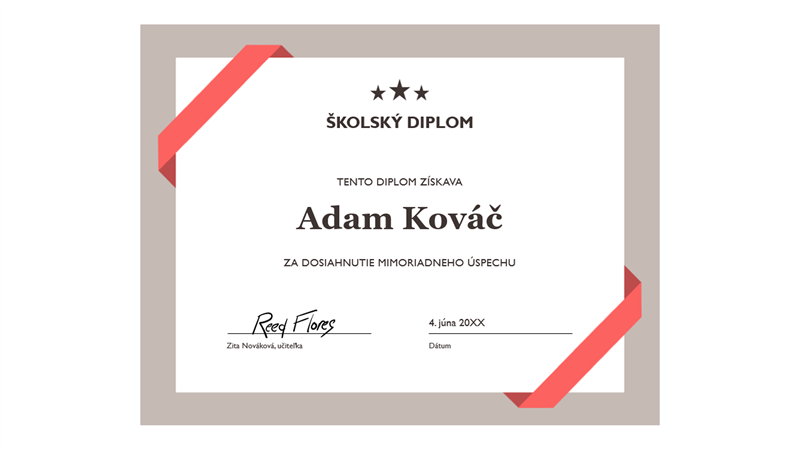 Školský diplom (s formálnym modrým orámovaním)