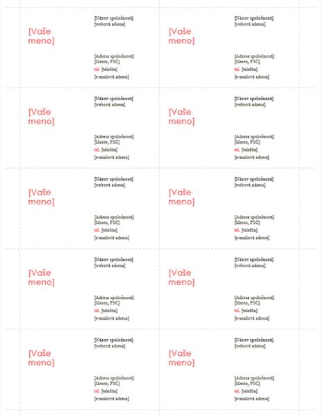 Vizitky (návrh v červenej farbe, 10 na stranu)