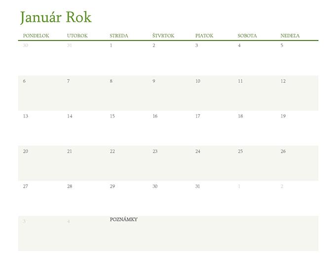 Kalendár na ktorýkoľvek rok (1 mesiac na kartu)