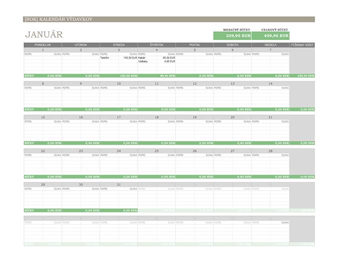 Kalendár výdavkov na ľubovoľný rok