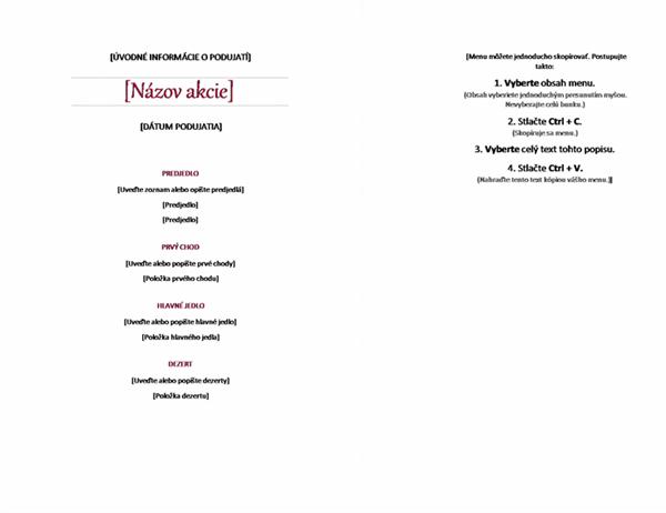 Elegantné menu