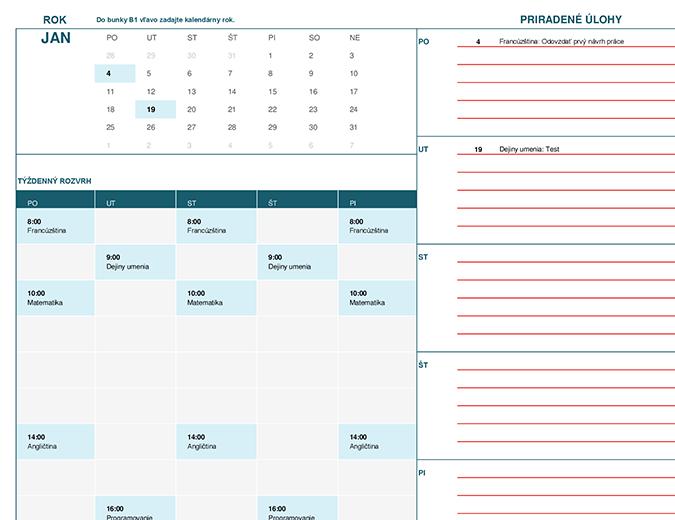 Študentský kalendár (Pondelok)
