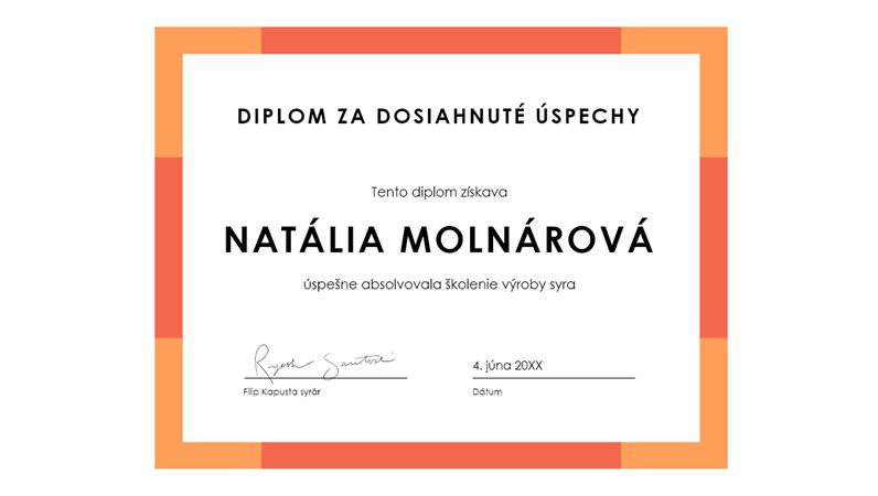 Diplom za dosiahnuté výsledky (modrý)