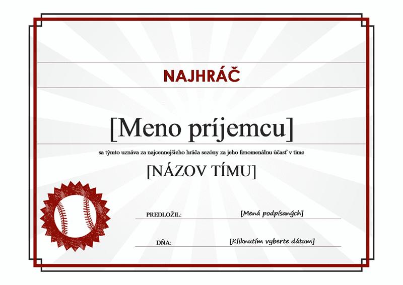Diplom pre najcennejšieho hráča