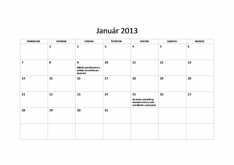 Základný kalendár na rok 2013 (Po – Ne)