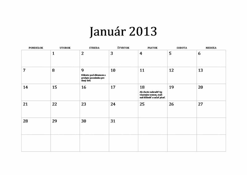 Klasický kalendár na rok 2013 (Po – Ne)