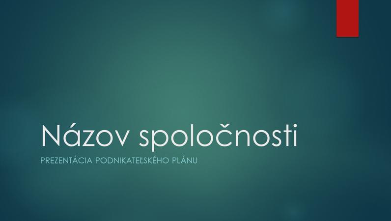 Prezentácia podnikateľského plánu (návrh v iónovej zelenej farbe, širokouhlý formát)