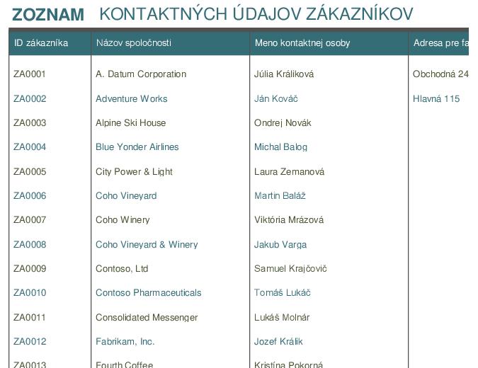 Zoznam kontaktov