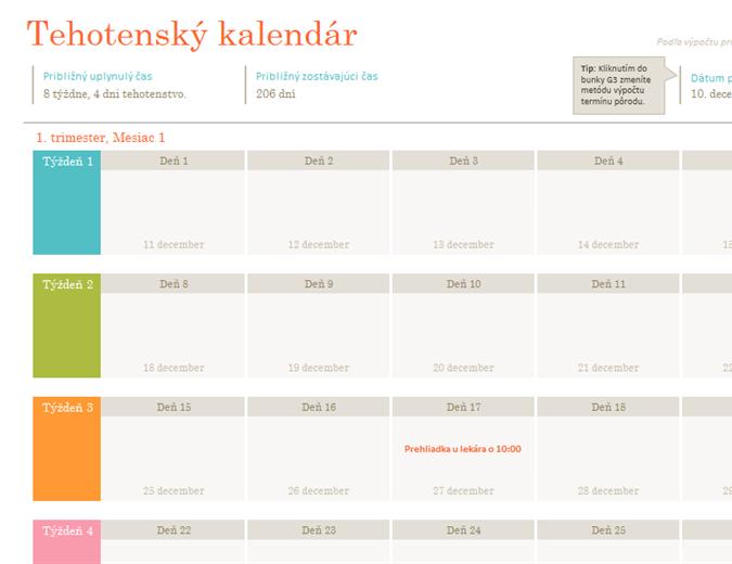 Tehotenský kalendár