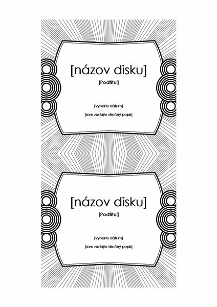 Označenie CD disku (možno použiť s papierom typu Avery 3265)