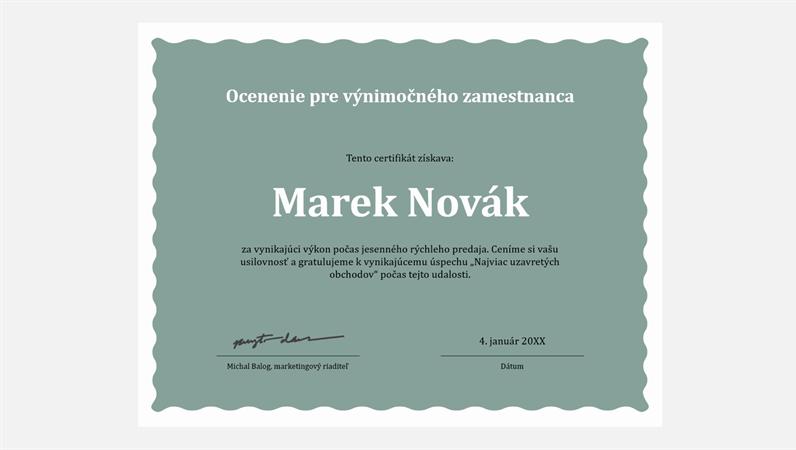 Certifikát pre zamestnanca