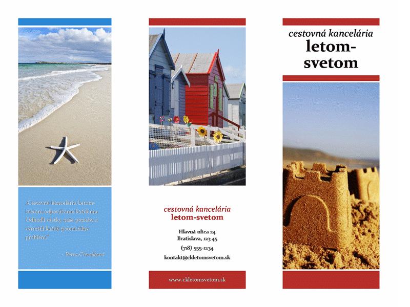 Trikrát preložená cestovná brožúra (červený, zlatý, a modrý návrh)