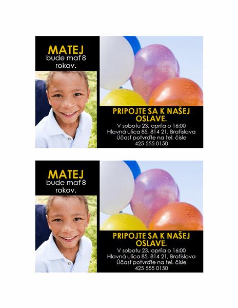 Pozvánka na večierok (návrh s dvoma fotografiami a žltým textom na čiernom podklade)