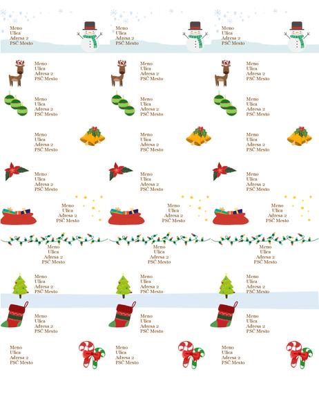 Menovky na darčeky (vianočný návrh, 30 na stranu, určené pre papier Avery 5160)
