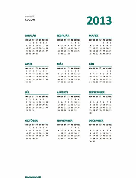 Prehľadný kalendár na rok 2013 (formát pondelok – nedeľa)