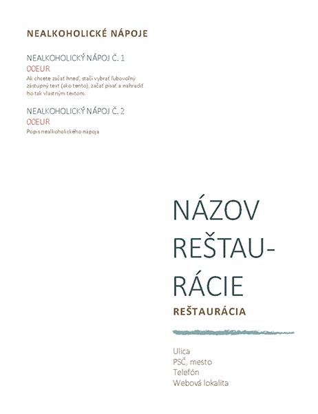 Reštauračné menu