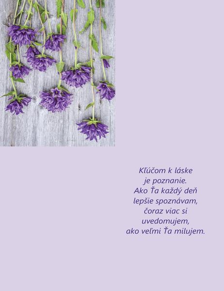 Pohľadnica ku Dňu svätého Valentína sbásničkou (zložená na štvrtiny)