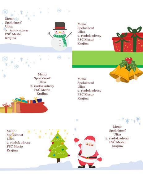 Sviatočné poštové štítky (vianočný návrh, 6 na stranu, určené pre papier Avery 5164 a podobné typy)