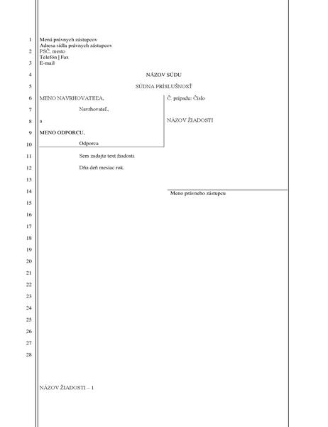 Formulár právneho podania (28 riadkov)